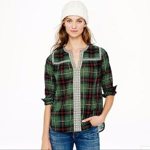 J.Crew Embroidered Green Plaid Peasant Top